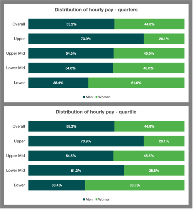 gender pay gap distribution of hourly pay
